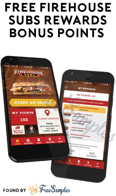 FREE Firehouse Subs Rewards Bonus Points (Code Required)