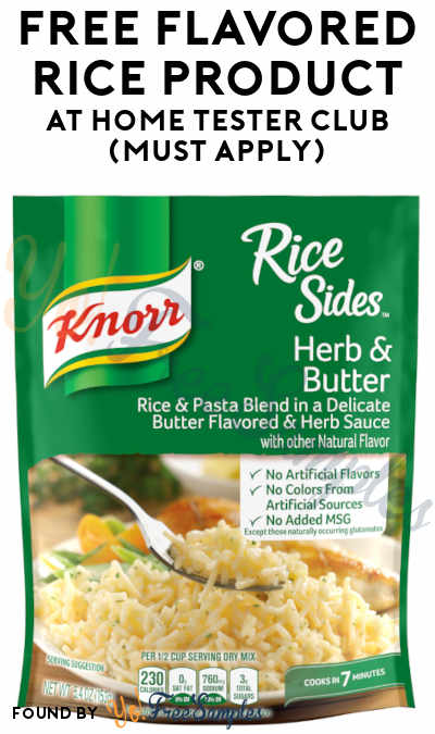 FREE Flavored Rice Product At Home Tester Club (Must Apply)