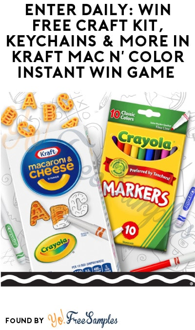 Enter Daily: Win FREE Craft Kit, Keychains & More in Kraft Mac N' Color Instant Win Game