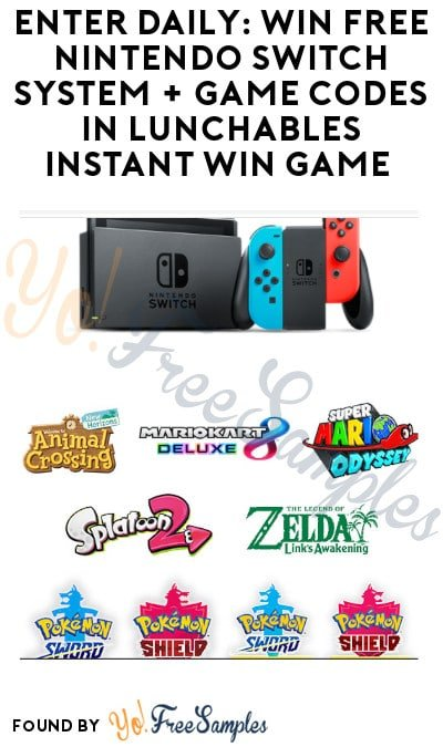 Enter Daily: Win FREE Nintendo Switch System + Game Codes in Lunchables Instant Win Game