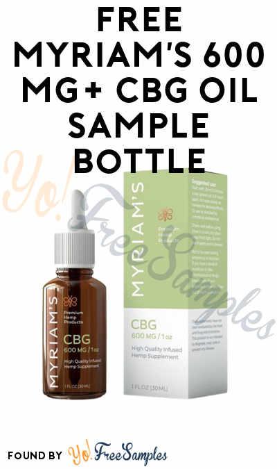 FREE Myriam's 600 mg+ CBG Oil Sample Bottle