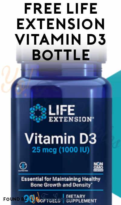 FREE Life Extension Vitamin D3 Bottle