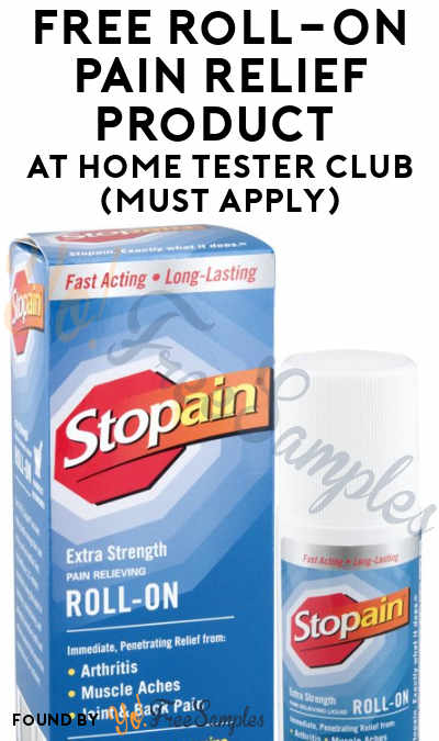 FREE Roll-On Pain Relief Product At Home Tester Club (Must Apply)