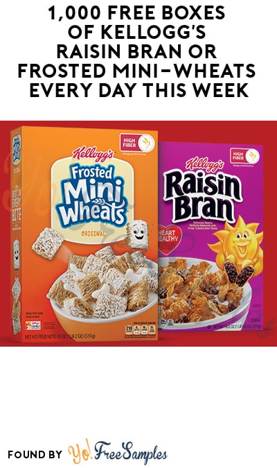 1,000 FREE Boxes of Kellogg's Raisin Bran or Frosted Mini-Wheats Every Day This Week! (Rewards Account Required)