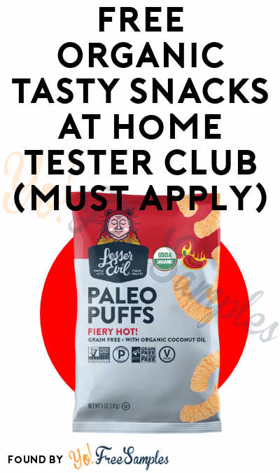 FREE Organic Tasty Snacks At Home Tester Club (Must Apply)