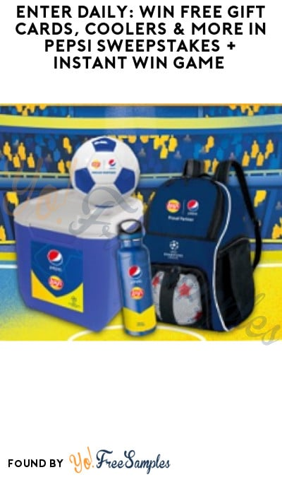 Enter Daily: Win FREE Gift Cards, Coolers & More in Pepsi Sweepstakes + Instant Win Game (Select States Only)