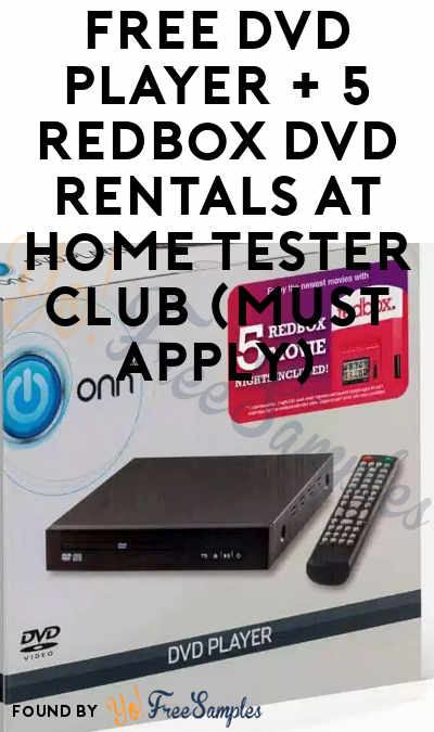 FREE DVD Player + 5 Redbox DVD Rentals At Home Tester Club (Must Apply)
