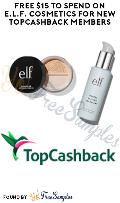 FREE $15 to Spend on E.l.f. Cosmetics for New TopCashback Members