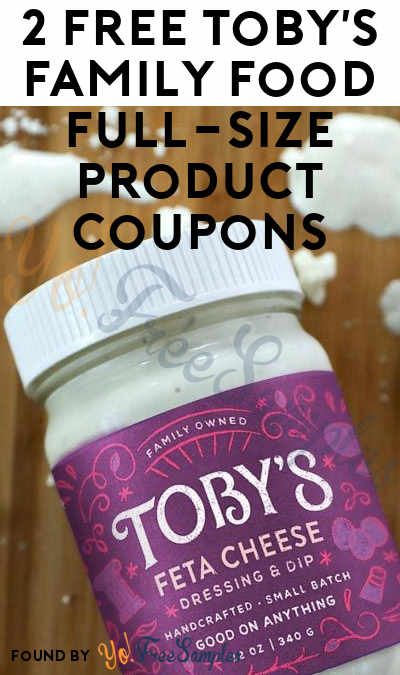2 FREE Toby's Family Food Full-Size Product Coupons
