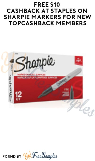 FREE $10 Cashback at Staples on Sharpie Markers for New TopCashback Members