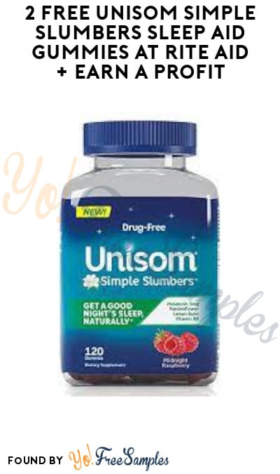 2 FREE Unisom Simple Slumbers Sleep Aid Gummies at Rite Aid + Earn A Profit (Coupon & Wellness+ Gold Required)