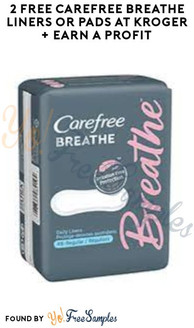2 FREE Carefree Breathe Liners or Pads at Kroger + Earn A profit (Account/ Coupon & Ibotta Required)